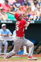 North Carolina State Wolfpack outfielder Bryan Adametz #15 bats during Game 3 of the 2013 Men's College World Series between the North Carolina State Wolfpack and North Carolina Tar Heels at TD Ameritrade Park on June 16, 2013 in Omaha, Nebraska. The Wolfpack defeated the Tar Heels 8-1. (Brace Hemmelgarn/Four Seam Images)