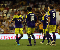 Valencia, Spain. Thursday 19 September 2013<br /> Pictured L-R: Jonathan de Guzman of Swansea celebrating his goal with co-scorers Wilfried Bony and Michu, making the score 0-3 to his team<br /> Re: UEFA Europa League game against Valencia C.F v Swansea City FC, at the Estadio Mestalla, Spain,