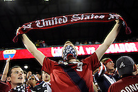 United States fan before the match. The men's national team of the United States (USA) was defeated by Ecuador (ECU) 1-0 during an international friendly at Red Bull Arena in Harrison, NJ, on October 11, 2011.