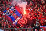 10.08.2019, Donaustadion, Ulm, GER, DFB Pokal, SSV Ulm 1846 Fussball vs 1. FC Heidenheim, <br /> DFL REGULATIONS PROHIBIT ANY USE OF PHOTOGRAPHS AS IMAGE SEQUENCES AND/OR QUASI-VIDEO, <br /> im Bild Bengalos, Pyrotechnik im Heidenheimer Fanblock<br /> <br /> Foto © nordphoto / Hafner