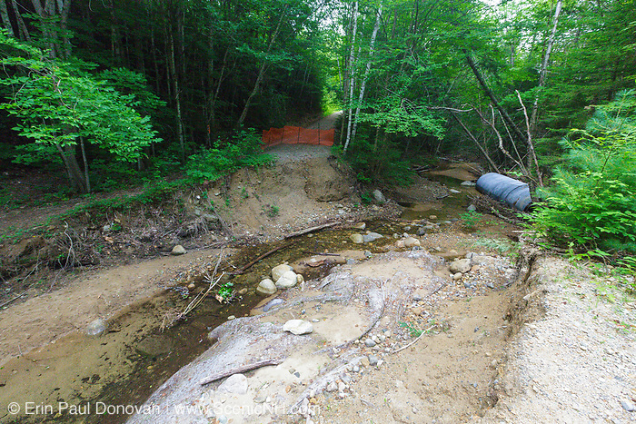 Eastside Road and Trail Repair Project -  This is a section of the Eastside Road that was washed out during Tropical Storm Irene. If the repair project is approved a new bridge will be installed in this general location and the old culvert will be removed.<br /> <br /> In 2011, the Eastside Road  / Trail in Lincoln, New Hampshire USA was severely damaged by Tropical Storm Irene.  Culverts were washed out and sections of the road suffered erosion damage.