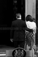 """24.06.2016 - The British Prime Minister David Cameron, along with his wife Samantha, opened the door of Number 10 to give a speech about the EU Referendum result, and about his defeat, and to communicate to the Country and to the rest of the world his formal resignation within 3 months. <br /> <br /> London, March-July 2016. Reporting the EU Referendum 2016 (Campaign, result and outcomes) observed through the eyes (and the lenses) of an Italian freelance photojournalist (UK and IFJ Press Cards holder) based in the British Capital with no """"press accreditation"""" and no timetable of the main political parties' events in support of the RemaIN Campaign or the Leave the EU Campaign.<br /> On the 23rd of June 2016 the British people voted in the EU Referendum... (Please find the caption on PDF at the beginning of the Reportage).<br /> <br /> For more photos and information about this event please click here: http://lucaneve.photoshelter.com/gallery/Downing-Street-David-Cameron-Speech-Resignation/G0000YNqp4GfkMfU/C0000LiS.GOfEuNk<br /> <br /> For more information about the result please click here: http://www.bbc.co.uk/news/politics/eu_referendum/results"""