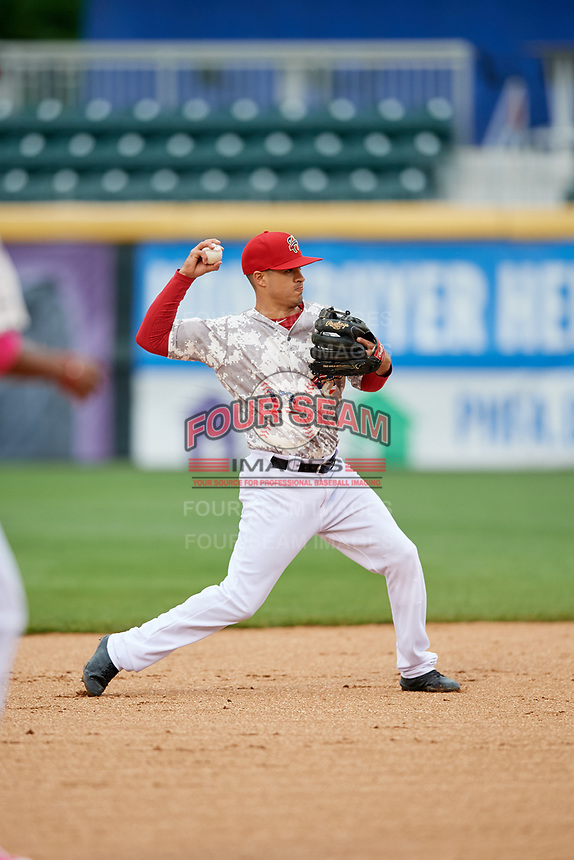 Harrisburg Senators shortstop Stephen Perez (13) throws to first base during the second game of a doubleheader against the New Hampshire Fisher Cats on May 13, 2018 at FNB Field in Harrisburg, Pennsylvania.  Harrisburg defeated New Hampshire 2-1.  (Mike Janes/Four Seam Images)