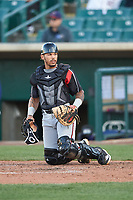 Lake Elsinore Storm catcher Luis Campusano (4) during a California League game against the Lancaster JetHawks on April 10, 2019 at The Hanger in Lancaster, California. Lake Elsinore defeated Lancaster 10-0 in the first game of a doubleheader. (Zachary Lucy/Four Seam Images)
