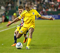 CARSON, CA – APRIL 9, 2011: Columbus Crew forward Emmanuel Ekpo (17) makes a centering pass during the match between Chivas USA and Columbus Crew at the Home Depot Center, April 9, 2011 in Carson, California. Final score Chivas USA 0, Columbus Crew 0.