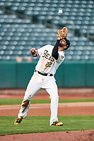 Kaleb Cowart (22) of the Salt Lake Bees on defense against the El Paso Chihuahuas in Pacific Coast League action at Smith's Ballpark on May 1, 2017 in Salt Lake City, Utah. Salt Lake defeated El Paso 9-4.  (Stephen Smith/Four Seam Images)