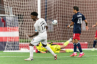 FOXBOROUGH, MA - SEPTEMBER 1: Shak Adams #17 of FC Tucson celebrates his goal during a game between FC Tucson and New England Revolution II at Gillette Stadium on September 1, 2021 in Foxborough, Massachusetts.
