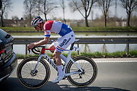 Mathieu Van der Poel (NED/Alpecin-Fenix) returning to the peloton early on in the race<br /> <br /> 76th Dwars door Vlaanderen 2021 (MEN1.UWT)<br /> 1 day race from Roeselare to Waregem (184km)<br /> <br /> ©kramon