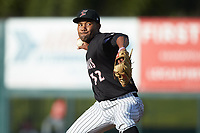 Kannapolis Intimidators relief pitcher Jose Nin (32) in action against the Hagerstown Suns at Kannapolis Intimidators Stadium on May 6, 2018 in Kannapolis, North Carolina. The Intimidators defeated the Suns 4-3. (Brian Westerholt/Four Seam Images)