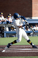 Michigan Wolverines designated hitter Jimmy Obertop (8) swings the bat against the Michigan State Spartans on March 21, 2021 in NCAA baseball action at Ray Fisher Stadium in Ann Arbor, Michigan. Michigan scored 8 runs in the bottom of the ninth inning to defeat the Spartans 8-7. (Andrew Woolley/Four Seam Images)