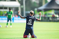 LAKE BUENA VISTA, FL - JULY 14: Francisco Calvo #5 of the Chicago Fire before the game during a game between Seattle Sounders FC and Chicago Fire at Wide World of Sports on July 14, 2020 in Lake Buena Vista, Florida.