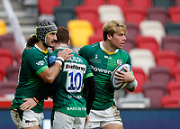 6th February 2021; Brentford Community Stadium, London, England; Gallagher Premiership Rugby, London Irish versus Gloucester; Ollie Hassell-Collins of London Irish celebrates with Blair Cowan and Paddy Jackson of London Irish after scoring a try