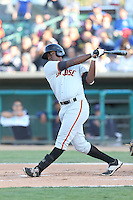 Brian Ragira (55) of the San Jose Giants bats during a game against the Lancaster JetHawks at The Hanger on April 11, 2015 in Lancaster, California. San Jose defeated Lancaster, 8-3. (Larry Goren/Four Seam Images)