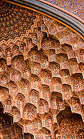 World Civilization:  Islamic Architecture--Isfahan,  a close-up of the stalactite hood of the great entrance Iwan of the Majid-I Shah. Enameled faience mosaics.