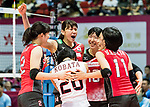 Middle blocker Ayaka Matsumoto of Japan celebrates with her teammates during the FIVB Volleyball World Grand Prix - Hong Kong 2017 match between Japan and Serbia on 22 July 2017, in Hong Kong, China. Photo by Yu Chun Christopher Wong / Power Sport Images