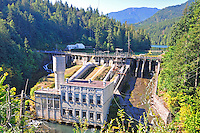 Lower Elwha River Dam and Powerhouse in Olympic National Forest, Olympic Peninsula, Washington State.