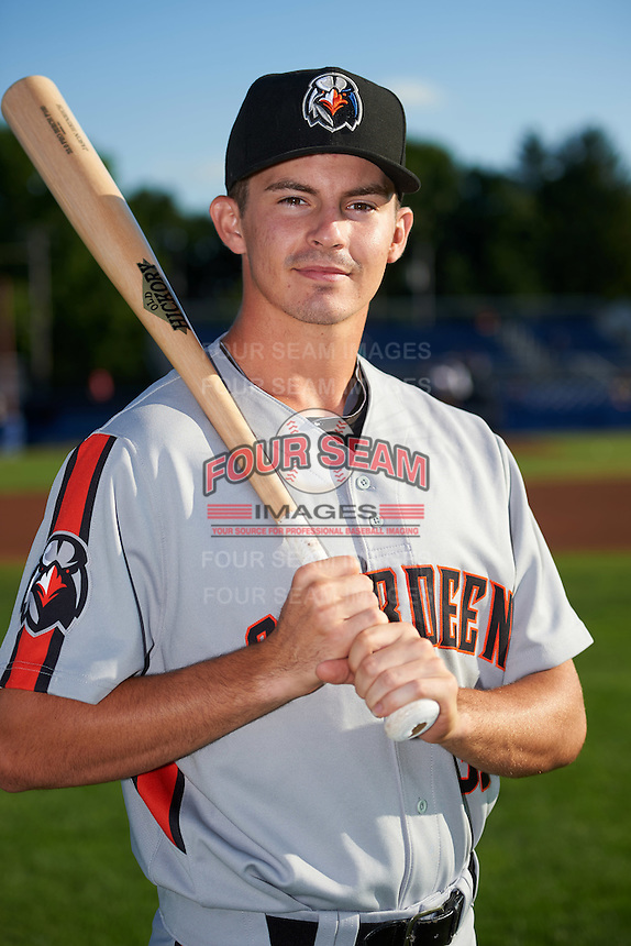 Aberdeen Ironbirds Jason Heinrich (37) poses for a photo before a game against the Batavia Muckdogs on July 14, 2016 at Dwyer Stadium in Batavia, New York.  Aberdeen defeated Batavia 8-2. (Mike Janes/Four Seam Images)