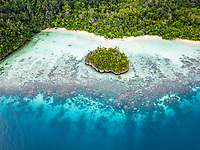 aerial view of tropical islands, West Waigeo, Raja Ampat Islands, West Papua, Indonesia, Pacific Ocean