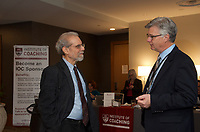 Daniel Goleman and Chip Carter at Coaching in Leadership and Healthcare Conference by the Institute of Coaching and Harvard Medical School at the Renaissance Hotel Boston MA October 13 and 14, 2017
