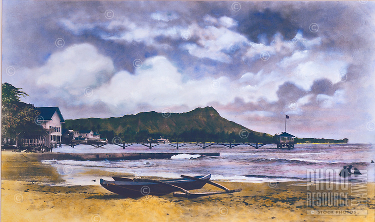 Hand-tinted photo of Diamond head and Waikiki with small outrigger canoe in foreground taken off the old Moana pier.