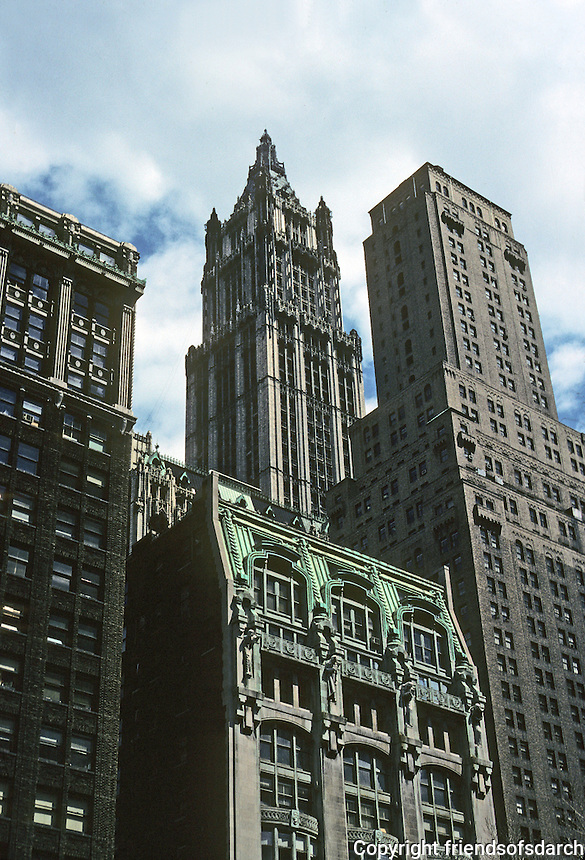 New York: Woolworth Building from rear, and, in foreground, New York Evening Post, 1906. Robert D. Kohn, Gutzon Borglum, sculptor.
