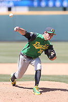 Stephen Nogosek #30 of the Oregon Ducks pitches against the UCLA Bruins at Jackie Robinson Stadium on May 18, 2014 in Los Angeles, California. Oregon defeated UCLA, 5-4. (Larry Goren/Four Seam Images)
