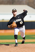 Wake Forest Demon Deacons starting pitcher Mark McCoy (41) in action against the Youngstown State Penguins at Wake Forest Baseball Park on February 24, 2013 in Winston-Salem, North Carolina.  The Demon Deacons defeated the Penguins 6-5.  (Brian Westerholt/Four Seam Images)