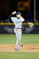 Coastal Carolina Chanticleers second baseman Connor Owings (6) makes a throw to first base against the High Point Panthers at Willard Stadium on March 14, 2014 in High Point, North Carolina.  The Panthers defeated the Chanticleers 3-0.  (Brian Westerholt/Four Seam Images)