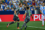 Real Sociedad's David Zurutuza (l) and Juan Miguel Jimenez (r) celebrate goal during La Liga match. August 24, 2018. (ALTERPHOTOS/A. Perez Meca)