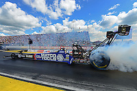 Sept 9, 2012; Clermont, IN, USA: NHRA top fuel dragster driver Antron Brown during the US Nationals at Lucas Oil Raceway. Mandatory Credit: Mark J. Rebilas-