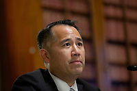 Derek Kan testifies before the United States Senate Committee on the Budget at the United States Capitol in Washington D.C., U.S., on Wednesday, June 24, 2020 as they consider his nomination to be Deputy Director of the White House Office of Management and Budget.  Credit: Stefani Reynolds / CNP/AdMedia