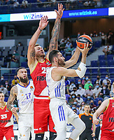 13th October 2021; Wizink Center; Madrid, Spain; Turkish Airlines Euroleague Basketball; game 3; Real Madrid versus AS Monaco; Rudy Fernandez (Real Madrid Baloncesto) tries to go past the defense of Donatas Motiejunas (AS Monaco)