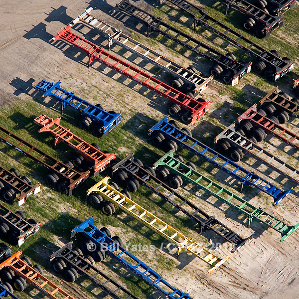 Intermodal tractor trailers helicopter aerial