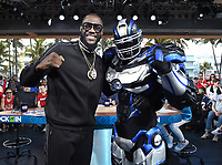 """MIAMI BEACH, FL - JANUARY 31: Deontay Wilder and Cleatus on the set of """"Lock It In"""" on the Fox Sports South Beach studio during Super Bowl LIV week on January 31, 2020 in Miami Beach, Florida. (Photo by Frank Micelotta/Fox Sports/PictureGroup)"""