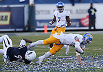 San Jose State quarterback Kenny Potter (5) is sacked by Nevada defensive end Malik Reed (90) during the second half of an NCAA college football game in Reno, Nev., on Saturday, Nov. 14, 2015. (AP Photo/Cathleen Allison)