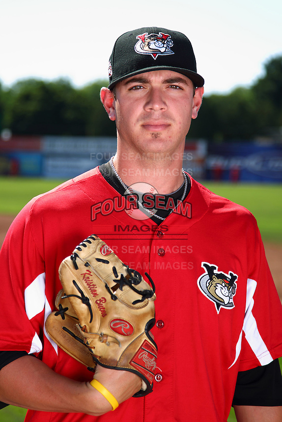 Tri-City ValleyCats pitcher Kristian Bueno #39 poses for a photo before a game against the Batavia Muckdogs at Dwyer Stadium on July 15, 2011 in Batavia, New York.  Batavia defeated Tri-City 4-3.  (Mike Janes/Four Seam Images)
