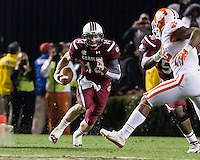 The tenth ranked South Carolina Gamecocks host the 6th ranked Clemson Tigers at Williams-Brice Stadium in Columbia, South Carolina.  USC won 31-17 for their fifth straight win over Clemson.  South Carolina Gamecocks quarterback Connor Shaw (14)