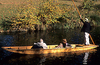 Beautiful scenic of boating called punting on the romantic Avon River, Christchurch, New Zealand, South Pacific