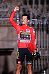 Red Jersey Primoz Roglic (SLO) Jumbo-Visma wins Stage 21 and La Vuelta d'Espana 2021, an individual time trial running 33.8km from Padron to Santiago de Compostela, Spain. 5th September 2021.    <br /> Picture: Luis Angel Gomez/Photogomezsport | Cyclefile<br /> <br /> All photos usage must carry mandatory copyright credit (© Cyclefile | Luis Angel Gomez/Photogomezsport)