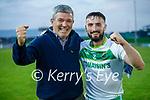 Maurice O'Mahony of Ballydonoghue congradulates Michael Foley after winning the 2020 County Junior Premier football final