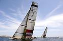 Louis Vuitton Trophy La Maddalena 1 giugno 2010. La partenza di una regata tra Luna Rossa e i francesi di Aleph durante le ultime fasi del Round Robin