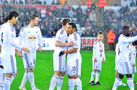 Pictured: Friday 26 December 2014<br /> Re: Premier League, Swansea City FC v Aston Villa at the Liberty Stadium, Swansea, south Wales, UK.<br /> <br /> Swansea's player celebrating their win