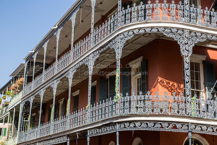 French Quarter, New Orleans, Louisiana.  Cast-iron Grillwork on Second- and Third-Story Balconies.