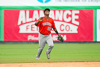 Greeneville Astros second baseman Juan Santana (27) calls for a fly ball in shallow center field during the Appalachian League game against the Burlington Royals at Burlington Athletic Park on July 1, 2013 in Burlington, North Carolina.  The Astros defeated the Royals 7-0 in Game One of a doubleheader.  (Brian Westerholt/Four Seam Images)