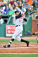 Northern Divisions shortstop Laz Rivera (13) of the Kannapolis Intimidators swings at a pitch during the South Atlantic League All Star Game at First National Bank Field on June 19, 2018 in Greensboro, North Carolina. The game Southern Division defeated the Northern Division 9-5. (Tony Farlow/Four Seam Images)