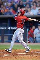 Josh VanMeter (15) of the Louisville Bats follows through on his swing against the Toledo Mud Hens at Fifth Third Field on June 16, 2018 in Toledo, Ohio. The Mud Hens defeated the Bats 7-4.  (Brian Westerholt/Four Seam Images)