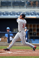 Fort Myers Miracle outfielder Max Kepler (23) at bat during a game against the Charlotte Stone Crabs on April 16, 2014 at Charlotte Sports Park in Port Charlotte, Florida.  Fort Myers defeated Charlotte 6-5.  (Mike Janes/Four Seam Images)