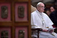 Pope Francis presides a prayer for Peace in South Sudan and the Democratic Republic of Congo on November 23, 2017 at St Peter's basilica in Vatican.