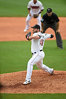 ***Temporary Unedited Reference File***Nashville Sounds relief pitcher Ryan Brasier (48) during a game against the Iowa Cubs on May 4, 2016 at First Tennessee Park in Nashville, Tennessee.  Iowa defeated Nashville 8-4.  (Mike Janes/Four Seam Images)