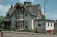 "New Bedford:  Victorian Gothic house, ""1845"" says plaque.  1174 Pleasant St.  Plaque identifies ""Sarah Ingraham"".  Photo '91."